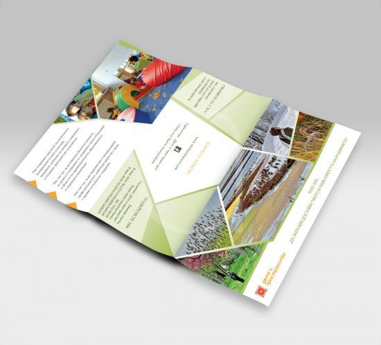 Tri-fold brochure for Child and Space Association